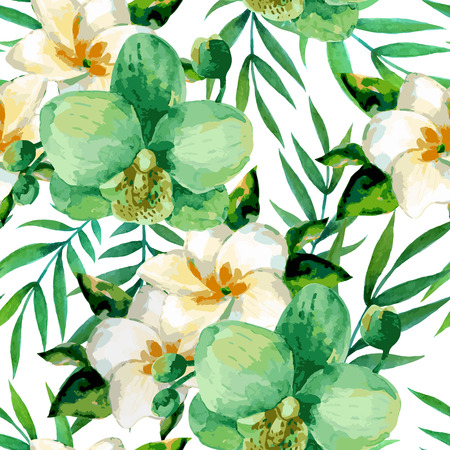 design floral: Watercolor seamless pattern of exotic flowers.Tropical flowers and palm leaves Illustration