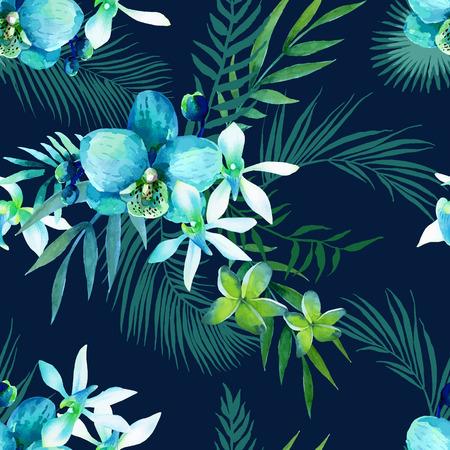 エキゾチックな花の水彩画のシームレスなパターン。熱帯の花やヤシの葉