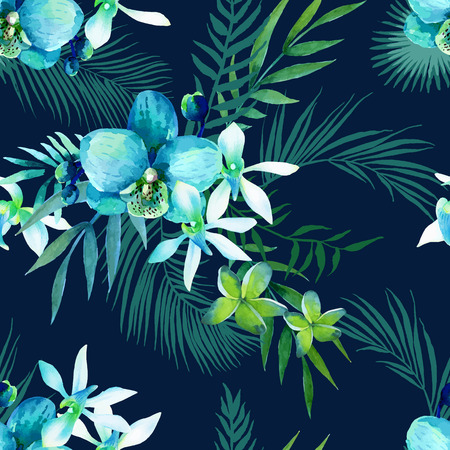 tropical flowers: Watercolor seamless pattern of exotic flowers.Tropical flowers and palm leaves Illustration