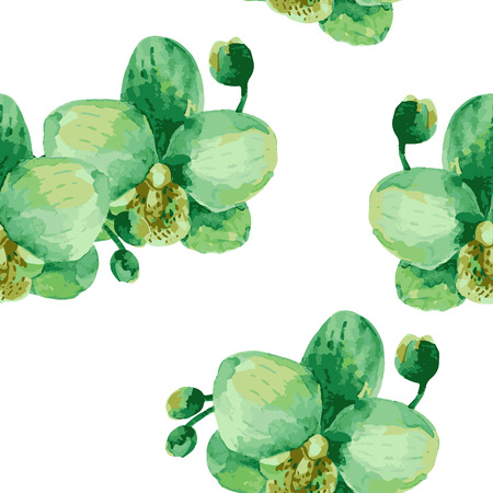 exotic flowers: Watercolor seamless pattern of exotic flowers Illustration