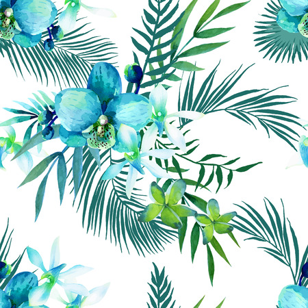 Watercolor seamless pattern of exotic flowers Vectores