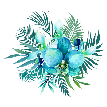 Watercolor bouquet of exotic flowers