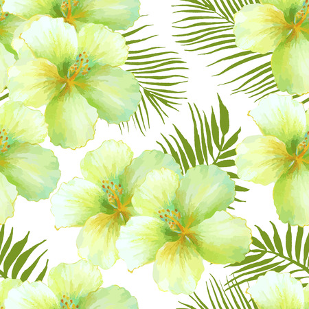 exotic: Watercolor seamless pattern of exotic flowers.Tropical flowers and palm leaves Illustration
