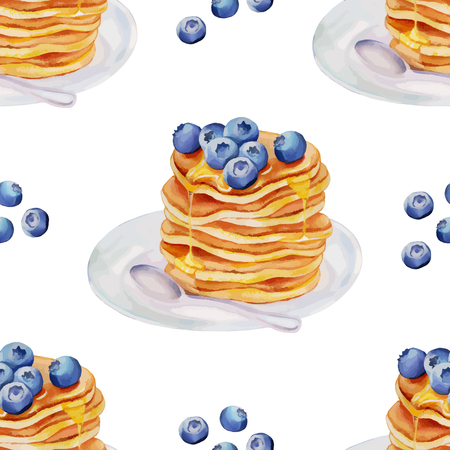 blueberries: Watercolor Pancakes with blueberries and maple syrup seamless pattern Illustration