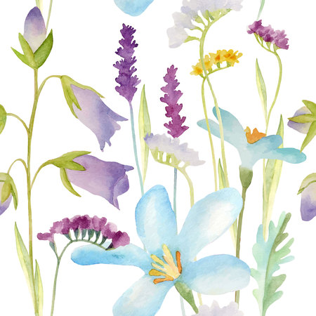Watercolor flowers seamless pattern.Bright colors watercolor background. Illustration