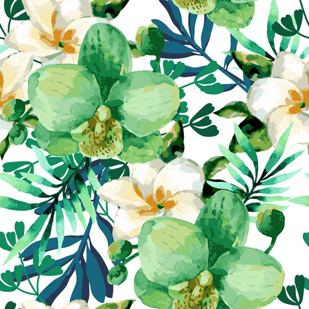 Watercolor floral seamless pattern with orchid flowers on white background.Tropical flowers and palm leaves