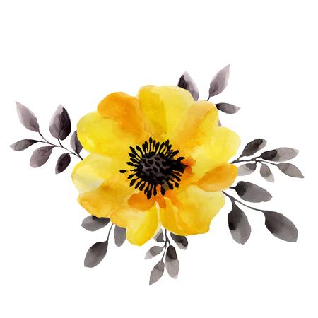 ejemplos de la acuarela de la flor amarilla aisladas sobre fondo blanco. Fondo para el diseño y la decoración.