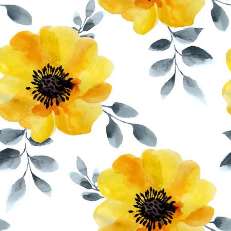 Flores de la acuarela sin patrón. Los colores brillantes fondo de la acuarela. Ilustración de vector