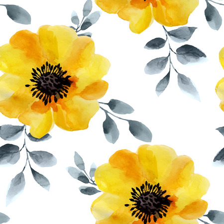 poppy flowers: Watercolor flowers seamless pattern. Bright colors watercolor background.