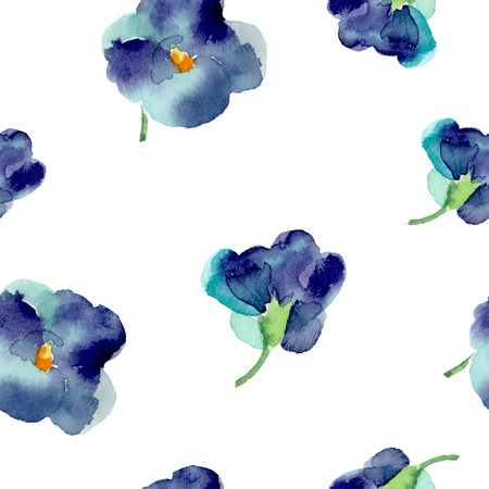 Watercolor of violet flowers seamless pattern. Bright colors watercolor background.