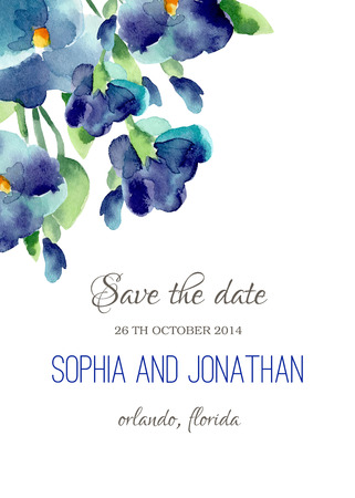 dinner date: Wedding invitation watercolor with violet flowers. Illustration for greeting cards, invitations, and other printing projects. Illustration