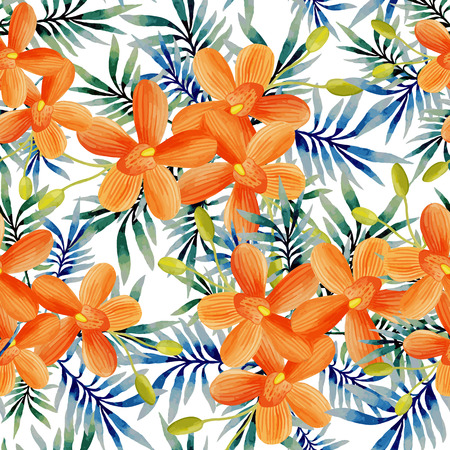 Watercolor seamless pattern of exotic flowers. Tropical flowers and palm leaves Illustration