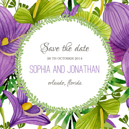nuptials: Wedding invitation watercolor with flowers. Illustration for greeting cards, invitations, and other printing projects.