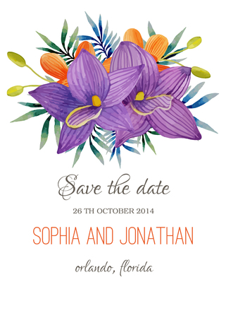 dinner date: Wedding invitation watercolor with flowers. Illustration for greeting cards, invitations, and other printing projects.