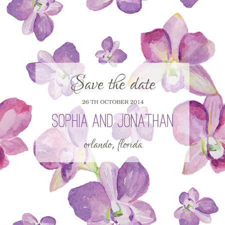 invite congratulate: Wedding invitation watercolor with orchid flowers. Illustration for greeting cards, invitations, and other printing projects.