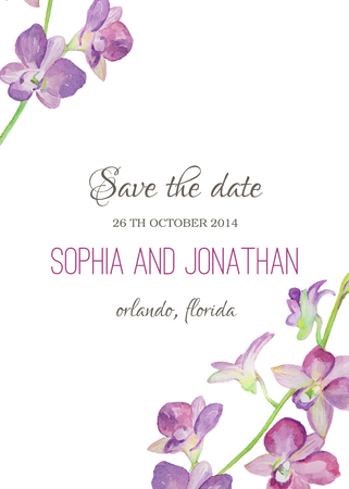 Wedding invitation watercolor with orchid flowers. Illustration for greeting cards, invitations, and other printing projects.