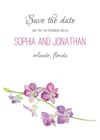 Wedding invitation watercolor with orchid flowers illustration vector wedding invitation watercolor with orchid flowers illustration for greeting cards invitations and other printing projects m4hsunfo