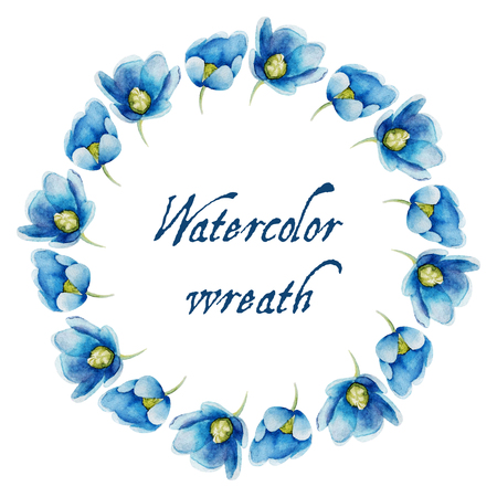 wreaths: Watercolor flowers in the frame. Vector circular floral wreaths  for your text.