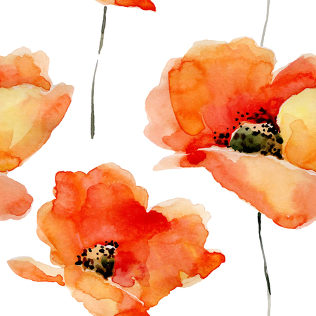 Watercolor flowers seamless pattern with poppies. Bright colors watercolor background.