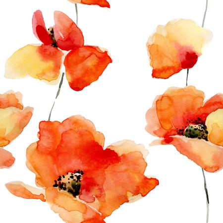 Fleurs Aquarelle seamless pattern avec des coquelicots. Des couleurs vives fond d'aquarelle. Banque d'images - 51894803