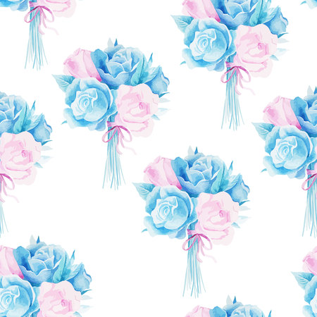 rose garden: Watercolor seamless roses pattern. Background for web pages, wedding invitations, save the date cards. Illustration