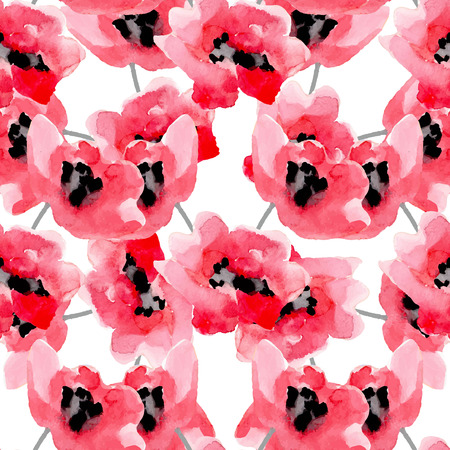Watercolor flowers red poppy seamless pattern. Bright colors watercolor botanical elements