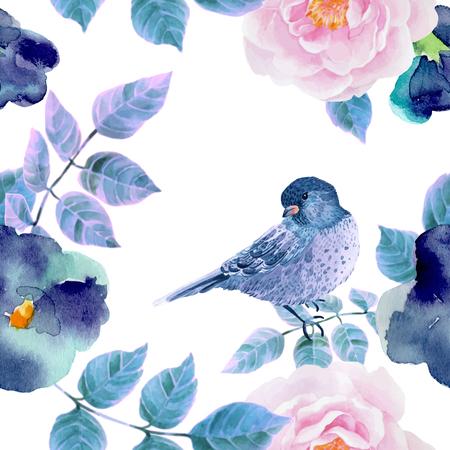 Flower: Acquerello modello senza soluzione di continuità con fiori e uccelli. illustrazione di vettore