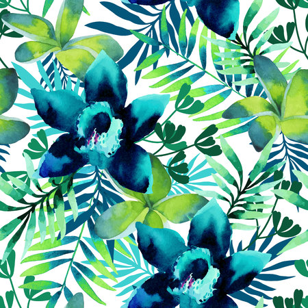 abstract floral: Watercolor seamless pattern of exotic flowers. Bright colors watercolor botanical elements