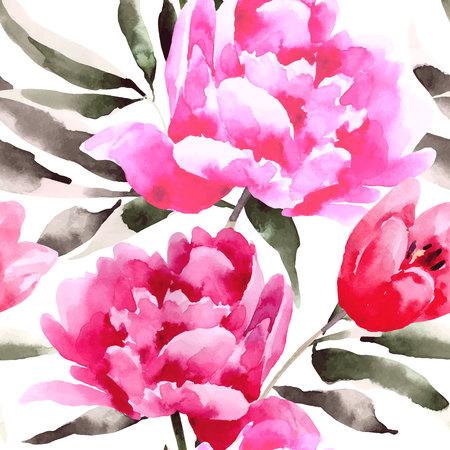 Seamless floral pattern avec pivoines. Contexte pour les pages web, invitations de mariage.