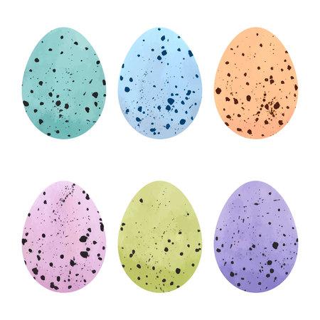 Watercolor Easter eggs set. Vector design elements.