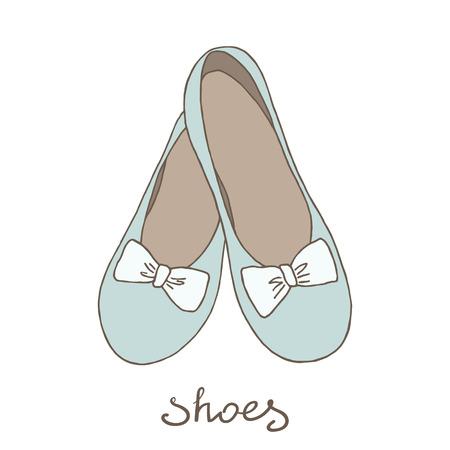 Chaussures de femme. Ballerines sur un fond blanc. Banque d'images - 58409665