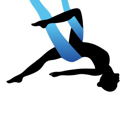 Aerial Yoga. Aero Yoga. Anti-gravity Yoga. Women doing anti gravity yoga exercise. Illustration