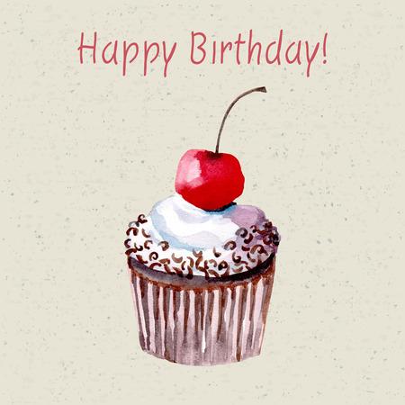 Belle carte d'anniversaire heureux avec sweet détaillé dessiné cup cake. Banque d'images - 58409685