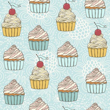 cup cakes: Seamless pattern with sweet detailed drawn cup cakes.