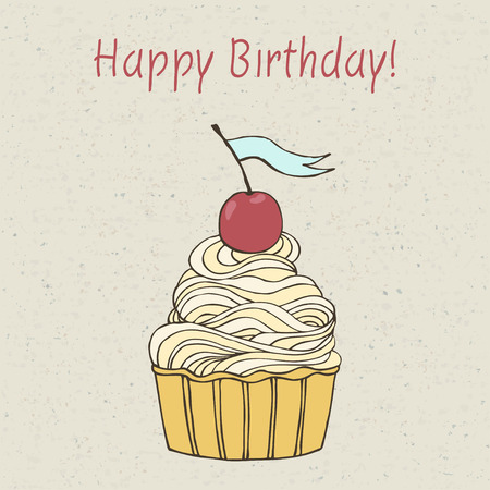 Beautiful happy birthday card with sweet detailed drawn cup cake. Illustration