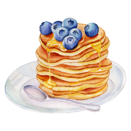 Watercolor pancakes with blueberries and maple syrup