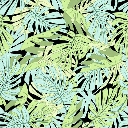 Palm Tropical feuilles. Seamless jungle tropicale motif floral. Vector illustration. Banque d'images - 58409706