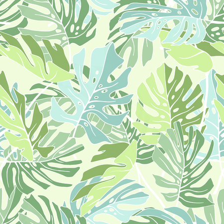 tropical: Tropical palm leaves. Seamless tropical jungle floral pattern. Vector illustration.