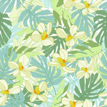 Palm Tropical feuilles. Seamless jungle tropicale motif floral. Vector illustration. Banque d'images - 58409710