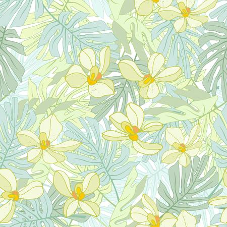 Seamless de fleurs exotiques. des fleurs et des feuilles de palmier Tropical. Banque d'images - 58409711