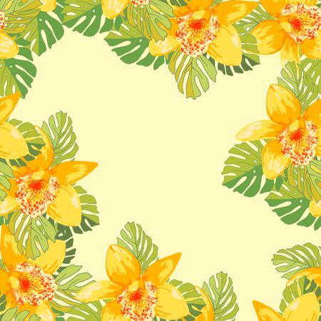 Seamless de fleurs exotiques. des fleurs et des feuilles de palmier Tropical. Banque d'images - 58409713