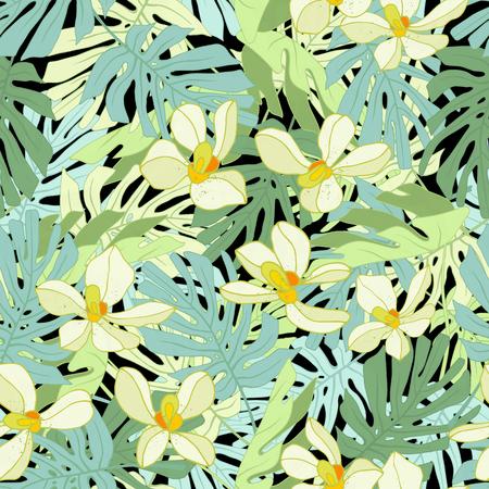 Palm Tropical feuilles. Seamless jungle tropicale motif floral. Vector illustration. Banque d'images - 58409714