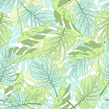 Tropical palm leaves. Seamless tropical jungle floral pattern.Vector illustration. Illustration