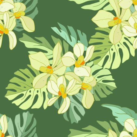 Seamless de fleurs exotiques. Les fleurs tropicales et des feuilles de palmier Banque d'images - 58409725
