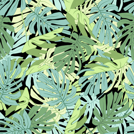 Tropical palm leaves. Seamless tropical jungle floral pattern.