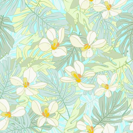 Seamless de fleurs exotiques. des fleurs et des feuilles de palmier Tropical. Banque d'images - 59127616