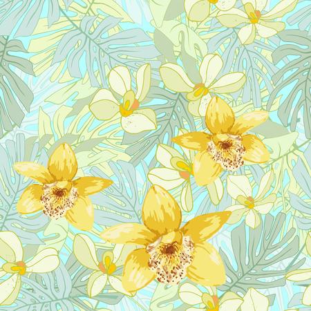 Modèle sans couture de fleurs exotiques. Fleurs tropicales et feuilles de palmier. Banque d'images - 59127674