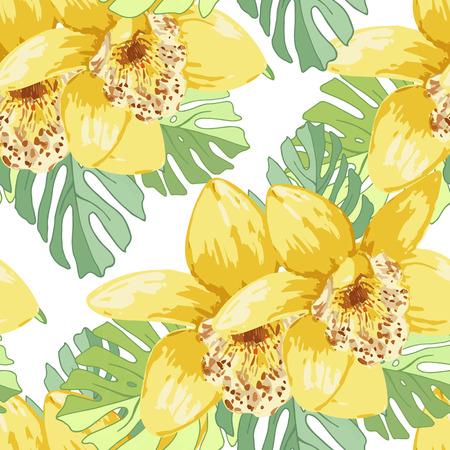 Seamless de fleurs exotiques. des fleurs et des feuilles de palmier Tropical. Banque d'images - 59127700