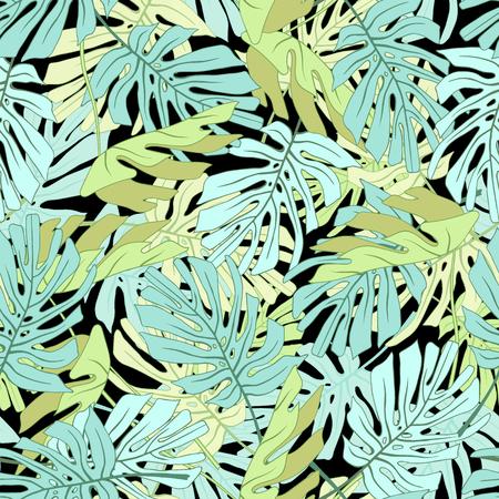 Feuilles de palmiers tropicaux Motif floral de jungle tropical sans soudure. Banque d'images - 59127641