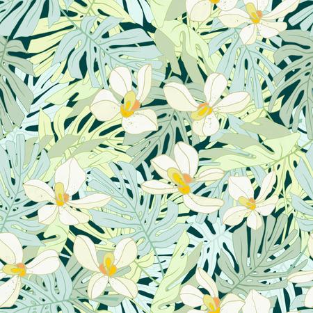 Seamless de fleurs exotiques. des fleurs et des feuilles de palmier Tropical. Banque d'images - 59127715